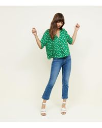 7aa3a4b017df76 New Look Green Ditsy Floral Boxy Shirt in Green - Lyst