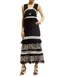 Nicole Miller   Black Embroidered Pollera Mid-calf Dress   Lyst