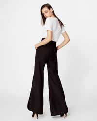 Nicole Miller - Black Wool Side Slit Pant - Lyst