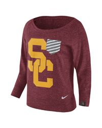 Nike - Red College Gym Vintage Crew (usc) Women's Top - Lyst