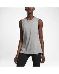 Nike - Gray Dry Women's Running Tank - Lyst