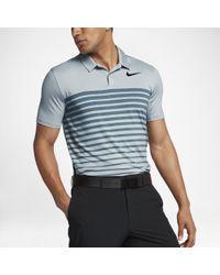 c8223428a1 Nike Dry Heather Stripe Men's Standard Fit Golf Polo Shirt in Blue ...