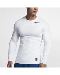 c4f5844a2a88 Lyst - Nike Pro Hyperwarm Men s Long Sleeve Training Top in White ...
