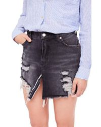 Free People - Blue Relaxed Ripped Denim Skirt - Lyst