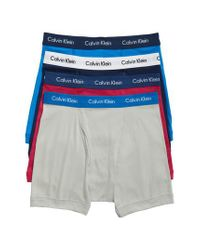 CALVIN KLEIN 205W39NYC - Classic 4-pack Cotton Boxer Briefs, Blue for Men - Lyst