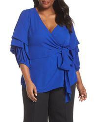 City Chic - Blue Desire Faux Wrap Shirt - Lyst