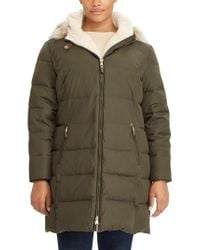 Lauren by Ralph Lauren   Green Quilted Down & Feather Fill Parka With Faux Fur Trim   Lyst