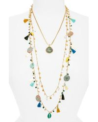 Tory Burch - Multicolor Coin & Tassle Multistrand Necklace - Lyst