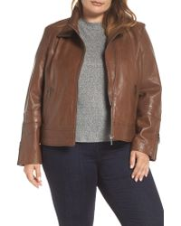 Bernardo - Brown Lambskin Leather Moto Jacket - Lyst