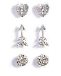 Treasure & Bond - Metallic Arrow Stud Earrings Set Of 3 - Lyst