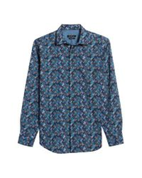Bugatchi - Blue Classic Fit Basket Weave Print Sport Shirt for Men - Lyst
