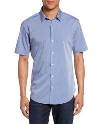 Zachary Prell - Blue Diamond Print Short Sleeve Sport Shirt for Men - Lyst