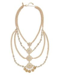 TOPSHOP - Metallic Layered Disk Sparkle Necklace - Lyst
