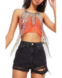 TOPSHOP - Metallic Tiffany Fringe Overlay Top - Lyst