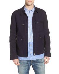 French Connection - Black Slim Fit Slub Twill Cotton & Linen Jacket for Men - Lyst