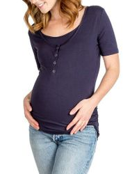 Nom Maternity - Blue Ruched Nursing/ Maternity Tee - Lyst