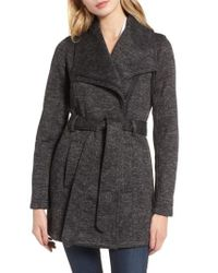 Steve Madden | Gray Fleece Wrap Coat | Lyst
