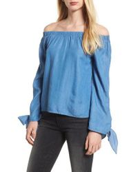 BISHOP AND YOUNG - Blue Bishop + Young Avery Off The Shoulder Top - Lyst