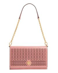 Tory Burch - Pink Kira Perforated Leather Clutch - Lyst