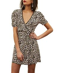 TOPSHOP - Brown Leopard Wrap Minidress - Lyst
