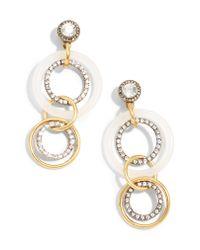 J.Crew - Metallic Crystal And Gold Circle Drop Earrings - Lyst