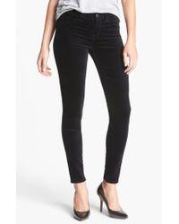 J Brand - Black '815' Mid Rise Velveteen Super Skinny Jeans - Lyst