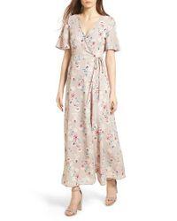 Lush - Pink Floral Print Wrap Maxi Dress - Lyst