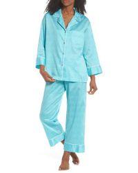 Natori - Blue Fan Print Cotton Pajamas - Lyst