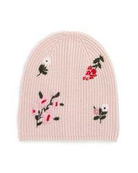 25ef794d69542 Lyst - Kate Spade In Bloom Merino Wool Knit Beanie in Pink