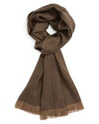Polo Ralph Lauren - Brown Wool Fringe Scarf for Men - Lyst