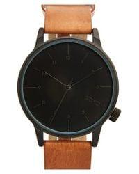 Komono - Brown 'winston' Round Dial Leather Strap Watch for Men - Lyst