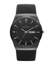 Skagen - Black 'melbye' Titanium Round Mesh Strap Watch - Lyst