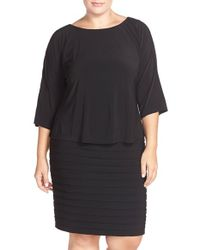 Adrianna Papell | Black Shutter Pleat Popover Sheath Dress | Lyst