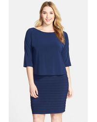 Adrianna Papell | Blue Shutter Pleat Popover Sheath Dress | Lyst