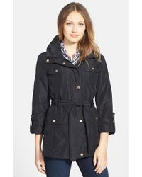 Ellen Tracy | Black Techno Short Trench Coat | Lyst