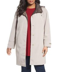 Gallery | Natural Embossed Collar Raincoat With Detachable Hood | Lyst