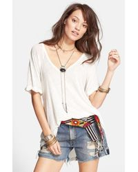 Free People | White 'free Falling' Shirttail V-neck Tee | Lyst