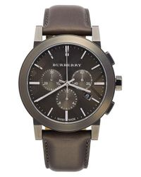 Burberry - Metallic Check Stamped Chronograph Leather Strap Watch for Men - Lyst
