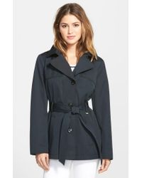 Ellen Tracy - Black Cotton Blend Short Trench Coat - Lyst