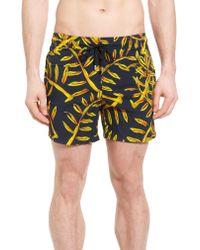 Vilebrequin - Blue Superflex Gold Palms Print Swim Trunks for Men - Lyst