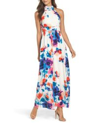 Eliza J - Multicolor Floral Print Halter Maxi Dress - Lyst