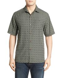 Tommy Bahama | Black 'caracas' Original Fit Check Short Sleeve Silk & Cotton Sport Shirt for Men | Lyst