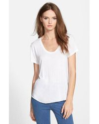 TOPSHOP | White Short Sleeve V-neck Tee | Lyst