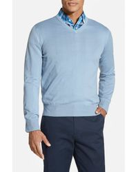 Robert Talbott - Blue Classic Fit V-neck Sweater for Men - Lyst