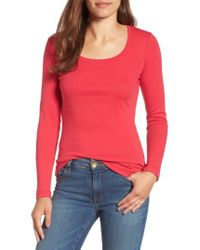 Caslon   Red Caslon 'melody' Long Sleeve Scoop Neck Tee   Lyst