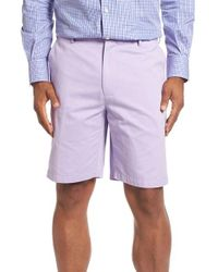 Peter Millar | Purple 'winston' Washed Twill Flat Front Shorts for Men | Lyst