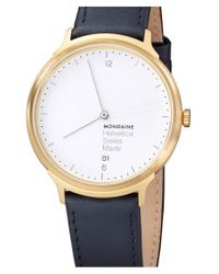 Mondaine - Black 'helvetica No.1 Light' Round Leather Strap Watch - Lyst
