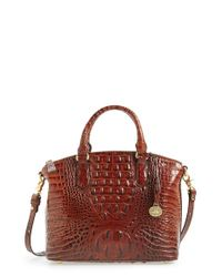 Brahmin | Red 'medium Duxbury' Croc Embossed Leather Satchel | Lyst