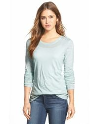Caslon | Blue Caslon Long Sleeve Slub Knit Tee | Lyst