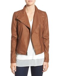 Marc New York | Brown By Andrew Marc 'felix' Stand Collar Leather Jacket | Lyst